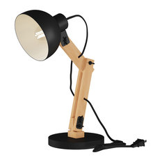 Lavish Home Led Architect Swing Lamp With Wood Base, Black