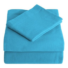 Heavyweight 100% Cotton Flannel Sheet Set Twin XL, Aqua Blue