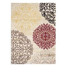 Toscana Cream Contemporary Area Rugs, 5'x8'