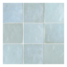 "Cloe 5""x5"" Artisan Ceramic Subway Tile, Baby Blue"