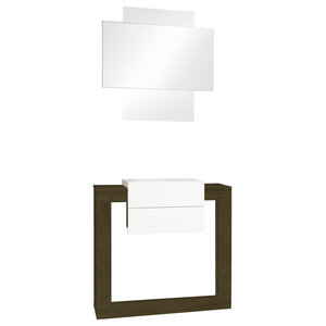 Modular 2-Piece Console and Mirror Set, Natur and White