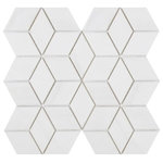 """All Marble Tiles - 7""""x12"""" Dolomite Marble Soft Touch Mosaic Rhombus - SAMPLES ARE A SMALLER PART OF THE ORIGINAL TILE. SAMPLES ARE NOT RETURNABLE."""