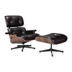 Classic Lounge Chair and Ottoman Replica - Black Italian Leather, Walnut Wood