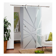 """Glass Sliding Barn Door with various Semi Private Frosted Designs, 34""""x84"""" Inche"""