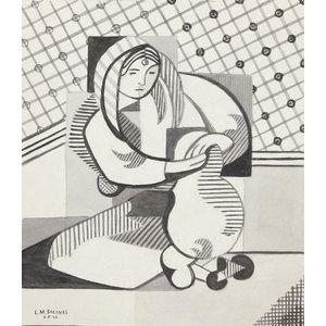 """Laurent Marcel Salinas """"Cubist Portrait 143"""" Ink Drawing"""