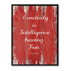 """Creativity Is Intelligence Albert Einstein Quote, Canvas, Picture Frame, 13""""X17"""""""
