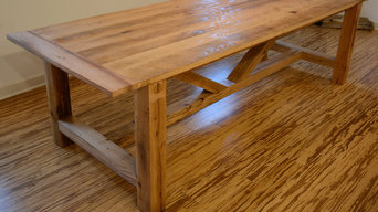 Reclaimed oak wood beam style dining table