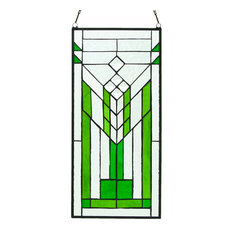 "19.5"" Stained Glass Mission Green and Clear Window Panel"
