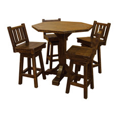 Rustic Barn Wood Style Timber Peg 5-Piece Bistro Set