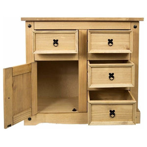 Traditional Sideboard, Natural Solid Wood With Doors and Storage Drawers