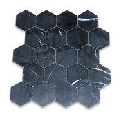 "12.25""x10.75"" Nero Marquina Hexagon Mosaic Tile Polished"