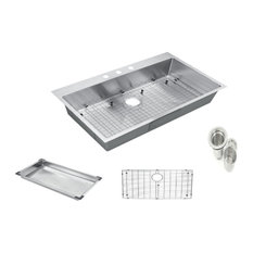 """Top-Mount/Drop-In Stainless Single Bowl Kitchen Sink and Accessories, 30""""x22""""x9"""""""