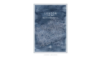 London Notting Hill Map Art Print, 30x40 cm