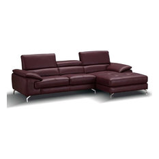 A973B Premium Leather Sectional Sofa In Maroon Right Hand Facing Chaise