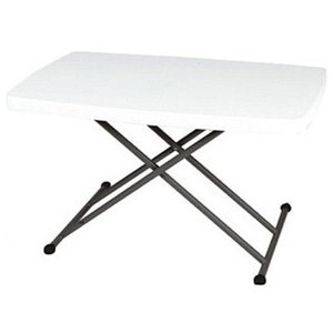 Contemporary Folding Table, Grey Steel Frame and White Finished Tabletop