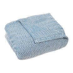 100% Cotton Chevron Blanket by Lavish Home, Blue, Full/Queen
