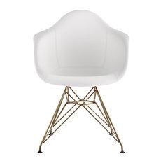Mid Century Eiffel Arm Chair, Milano White