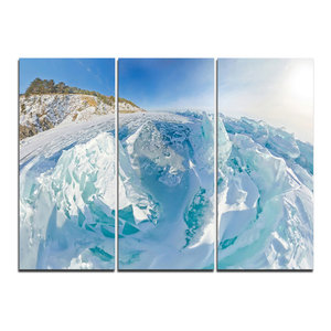 Blue Ice Mountains In Lake Baikal Siberia Wall Art 3 Panels 36 X28 Contemporary Prints And Posters By Design Art Usa