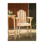 Balcony Tall, Counter High Adirondack Chair With Footrest, Natural Wood