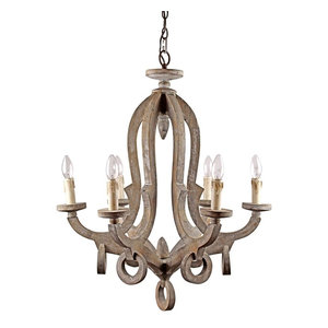 Farmhouse 6-Light Candle-Style Wooden Chandelier