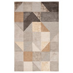 Jaipur Living - Jaipur Living Penta Handmade Geometric Gray/Gold Area Rug, 8'x11' - The sleek and angular Syntax collection infuses interiors with mid-century modern style. The geometric Penta area rug boasts a combination of neutral light grays, metallic and warm golden tones, and contrasting charcoal for unique balance. Hand tufted of wool and viscose, this whimsical and plush accent features cut and looped pile for a touch of texture and dimension.