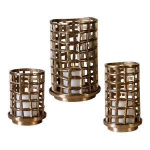 Antique Bronze Cage Hurricane Candle Holder 3-Piece Set, Modern Metal Grid Open