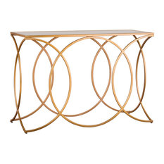 Fairbury Geometric Console Table With Mirrored Top, Gold
