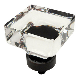 Cosmas 6377ORB Oil Rubbed Bronze and Glass Square Cabinet Knob, Clear Glass