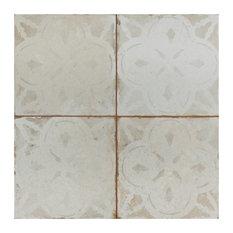 SomerTile Kings Aurora Encaustic Ceramic Floor and Wall Tile, White