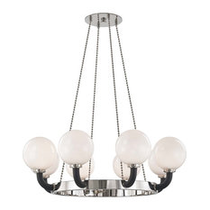 Werner 8-Light Pendant, Polished Nickel/Black