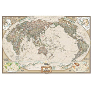 fe9becdeeb Pacific-Centered Political World Map Wall Mural in Earth Tone, Self-Adhesive