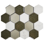 """CNK Tile - Sienna Blend Hexagon Tile, 10.35""""x11.93"""" Sheets, Set of 11 - A beautiful blend of materials marble, glass, and porcelain with a crackled glass finish. Sure to make any project stand out with these truly unique tiles."""