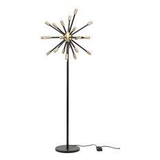 Sergei Floor Lighting, Antique Brass, Black