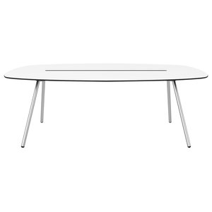 Medium A-Lowha Long Board Table, White, Stainless Steel Frame