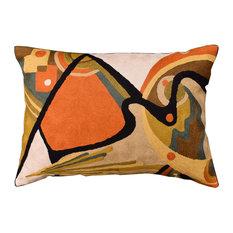 "Lumbar Kandinsky Decorative Pillow Cover In The Flow Decorative Wool 14x20"""