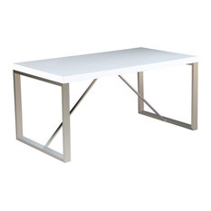 63-inch Modern Dining Table Chrome Finish Wood Tabletop 4 Four Six 6 Seating White