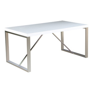 """63"""" Modern Dining Table Chrome Finish Wood Tabletop 4 Four Six 6 Seating, White"""