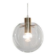 Modern Mid Clean 1-Light Satin Brass Globe Pendant