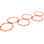 """Trademark Innovations - 20"""" Hexagonal Speed and Agility Training Rings, Set of 6, Carry Bag, Orange - Pack of 6 hexagonal speed rings can be configured in a variety of shapes to maximize footwork training. Using the included set of clips, make a straight line of rings, a staggered pattern or a hopscotch like grid. Great endurance and muscle-toning workout. Perfect training for soccer, football, basketball, and practically all other sports. 20 inch diameter on rings.  Pack of 6.  By Trademark Innovations"""