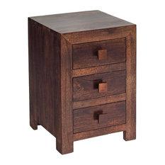 Santiago Dark Mango Wood 3-Drawer Bedside Table