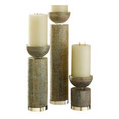 Scratched Pillar Candlestick, Light Brown, Small