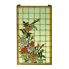 """Handcrafted stained glass window panel Rose Flowers , 20"""" x 34"""""""