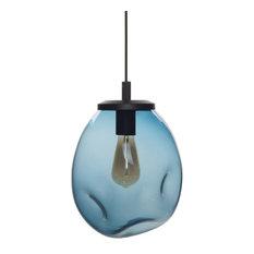 "Pendant Light Handblown Glass Organic Contemporary Hanging Light, Blue, 11.8"""