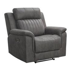 Charlee Fabric Power Recliner, Power Headrest, Gray