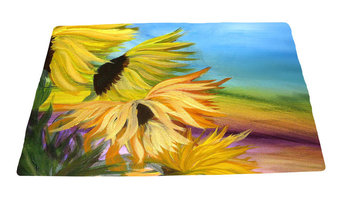 "Garden Area Plush Area Rugs From Original Art, Sunflower Field, 48""x30"