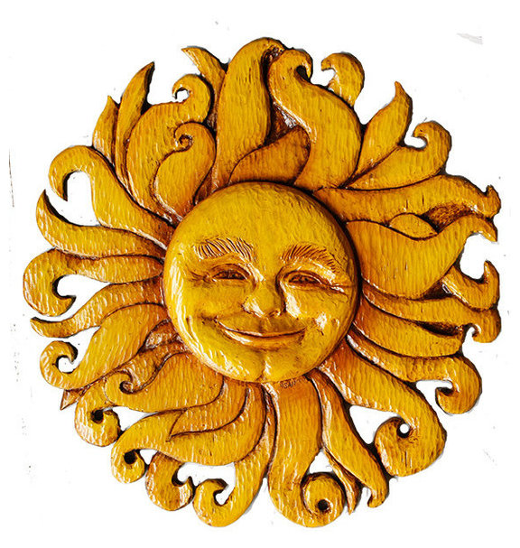 Sun Face Wall Decor Celestial Plaque - Southwestern - Wall ...