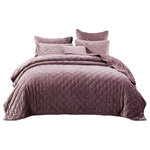 Tache Home Fashion - Mauve Velvet Diamond Tuft Bedspread Quilt Set, King - Melt into your velvet dreams every night when you lay in this bedspread. The regal luxury of this fabric is in the light velvety sheen when it touches the light. It has luxury look to it with very soft hand feeling and is especially warm when using during the winter. Color: Mauve Purple. Includes 1 Bedspread and 2 Shams. Machine Wash Cold Gentle Cycle, Wash Dark Colors Separately, Do Not Bleach, Tumble Dry Low and Remove Promptly.