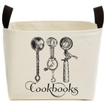 A Southern Bucket - Cookbooks Canvas Storage Bin - Display your favorite cookbooks on your kitchen countertop with this charming decorative basket. Each cookbooks bin is handcrafted from sturdy natural canvas and features a kitchen tools design on the front. The classic black and cream neutral coloring will beautifully complement any decorating style. Enjoy your canvas cookbooks basket as a decorative & practical accent for your living space.
