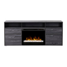 Sander Media Console Electric Fireplace With Acrylic Ember Bed, Carbon Finish
