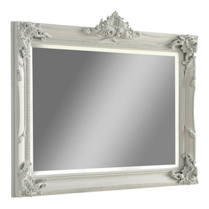 Carved Mantle Wall Mirror, White, 86x109 cm